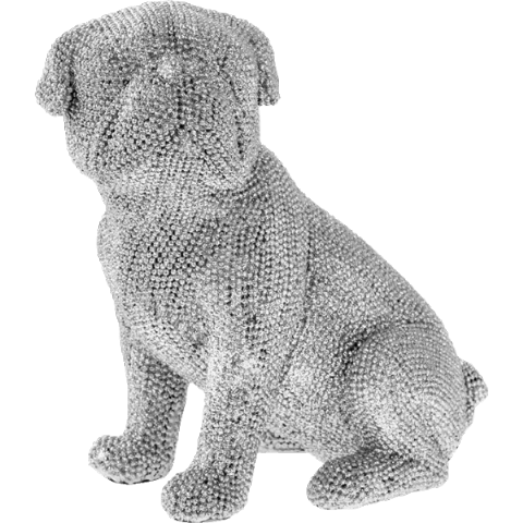 Silver Art Sparkly Bling Diamante Sitting Pug Dog